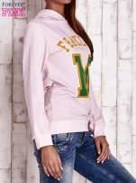 Różowa bluza z kapturem i napisem FRAKLYN M                                                                          zdj.                                                                         3
