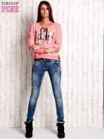 Różowa bluza ze srebrnym napisem                                  zdj.                                  2