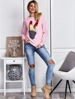 Różowa bluza ze szminkami                                   zdj.                                  4