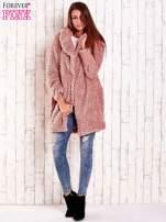 Różowa futrzana kurtka oversize                                                                          zdj.                                                                         3