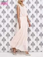 Różowa grecka sukienka maxi z koronką z tyłu                                  zdj.                                  3