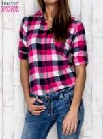 Różowa koszula w kratę z kieszonką                                  zdj.                                  5