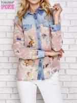 Różowa koszula w kwiaty ze wstawkami z denimu                                  zdj.                                  1