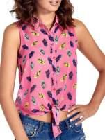 Różowa koszula z wiązaniem w ananasy                                                                          zdj.                                                                         5
