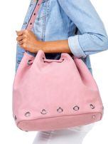 Różowa miękka torba ze ściągaczem                                  zdj.                                  1