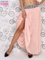Różowa spódnica maxi z wyszywanym paskiem                                  zdj.                                  2