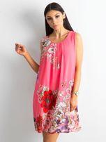 Różowa sukienka damska w kwiaty                                  zdj.                                  1