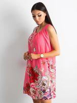 Różowa sukienka damska w kwiaty                                  zdj.                                  3