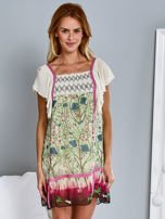 Różowa sukienka letnia mgiełka w kwiaty                                  zdj.                                  1
