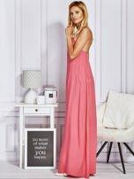 Różowa sukienka maxi z wiązaniem na szyi