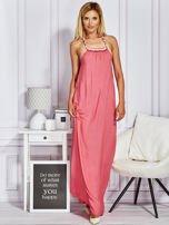 Różowa sukienka maxi z wiązaniem na szyi                                  zdj.                                  3