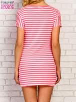 Różowa sukienka w paski z napisem NEW YORK PARIS LONDON                                  zdj.                                  4