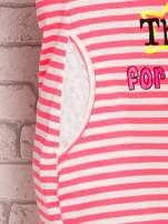 Różowa sukienka w paski z napisem TIME IS UP                                                                          zdj.                                                                         6