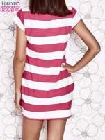 Różowa sukienka w paski ze sznurowanym dekoltem                                  zdj.                                  5