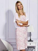 Różowa sukienka z luźnymi rękawami                                   zdj.                                  5