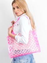 Różowa transparentna torba w grochy                                  zdj.                                  1