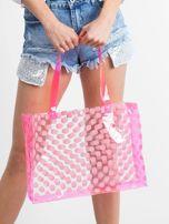 Różowa transparentna torba w grochy                                  zdj.                                  3