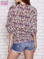 Różowa wzorzysta koszula nietoperz z suwakiem                                                                          zdj.                                                                         4