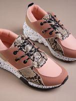 Różowe buty sportowe z wstawką w wężowy print                                  zdj.                                  3