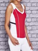 Różowo-biały damski top sportowy z nadrukiem na plecach                                  zdj.                                  3