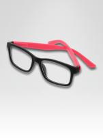 Różowo-czarne okulary zerówki kujonki typu WAYFARER NERDY matowe                                  zdj.                                  1