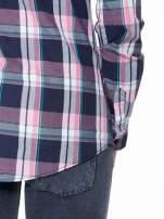 Różowo-granatowa koszula w kratę z kieszeniami                                  zdj.                                  11