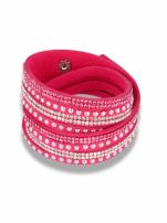 Różowo-srebrna Bransoletka na zamszowym pasku z cyrkoniami                                  zdj.                                  1