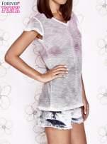 Różowo-szary t-shirt z efektem ombre                                  zdj.                                  3