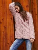 Beżowy futrzany sweter kurtka na suwak                                                                          zdj.                                                                         1