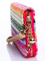 Różowy pleciony portfel w paski                                                                          zdj.                                                                         3