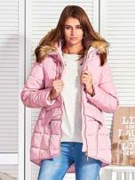 Różowy puchowy krótki płaszcz z pikowzaniem                                  zdj.                                  6