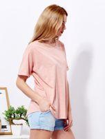 Różowy t-shirt basic z podwijanymi rękawami                                  zdj.                                  5