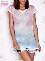Różowy t-shirt z efektem jasnoniebieskiego ombre                                  zdj.                                  1