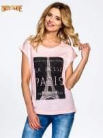 Różowy t-shirt z motywem Paryża                                  zdj.                                  1