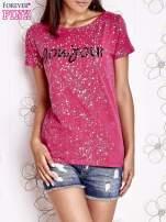 Różowy t-shirt z napisem BONJOUR                                  zdj.                                  1
