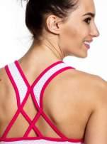 Różowy top sportowy z siateczką i skrzyżowanymi ramiączkami                                                                          zdj.                                                                         5