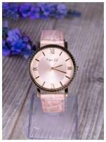 Różowy zegarek damski na skórzanym lakierowanym pasku                                                                          zdj.                                                                         1
