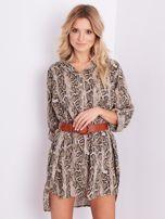 SCANDEZZA Beżowa sukienka animal print                                  zdj.                                  6