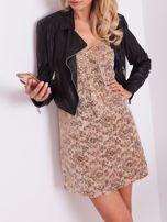 SCANDEZZA Beżowa sukienka mini                                   zdj.                                  5