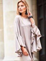 SCANDEZZA Beżowa sukienka z hiszpańskimi rękawami                                  zdj.                                  7