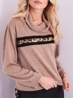 SCANDEZZA Beżowy sweter golf z cekinowym zdobieniem                                  zdj.                                  2