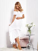 Biała asymetryczna sukienka hiszpanka z frędzlami                                  zdj.                                  5