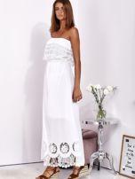 Biała sukienka maxi bez ramion z koronkową falbaną                                  zdj.                                  3