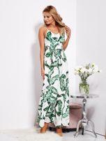 Biało-zielona maxi sukienka w liście z wiązaniem                                  zdj.                                  2