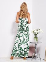 SCANDEZZA Biało-zielona maxi sukienka w liście z wiązaniem                                  zdj.                                  6