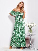 SCANDEZZA Biało-zielona sukienka hiszpanka maxi w tropikalne liście                                  zdj.                                  1