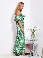 SCANDEZZA Biało-zielona sukienka hiszpanka maxi w tropikalne liście                                  zdj.                                  2