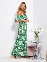 SCANDEZZA Biało-zielona sukienka hiszpanka maxi w tropikalne liście                                  zdj.                                  3