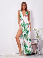 SCANDEZZA Biało-zielona sukienka maxi floral print z rozcięciem                                  zdj.                                  9