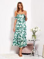 SCANDEZZA Biało-zielona sukienka maxi off shoulder w liście                                  zdj.                                  1